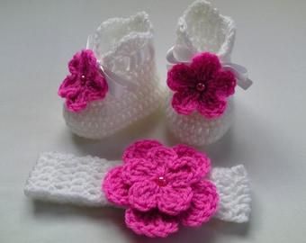 Crochet Baby Headband and Booties Set children gift