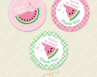 Watermelon Favor Tags Printable Thank You Round Circle Tag instant download digital pdf You're Sweet plaid dots pink green juicy party treat