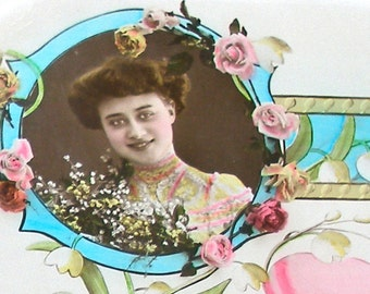 1900s French postcard, Edwardian Lady in flowered frame, RPPC real photo postcard, paper ephemera.