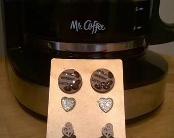 coffee fiend earring set