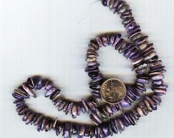 """Stunning Natural Russian Charoite Gemstone Chip Beads 15"""" 10mm"""