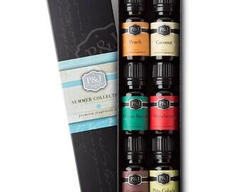 6 Slime Scents - Summer Set of 6 Fragrance Oils - Peach, Strawberry, Plumeria, Coconut, Ocean Breeze, Pina Colada - 10ml