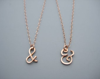 Rose Gold Ampersand Necklace - and symbol couples jewelry, bridesmaid jewelry, wedding shower gift
