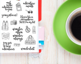 Travel Quotes Monochrome Planner Stickers (S-160)