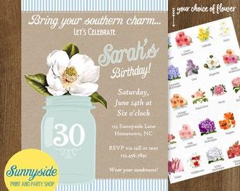 Magnolia Birthday Party Invitation with Mason Jar - 20 30 40 50th, Printable or Printed Birthday Invites, floral invitation, womans birthday