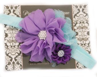 Baby Girl Headband - Lavender and Aqua Blue Flower Headband - Infant Headband  -Cake Smash Headband - Photo Prop