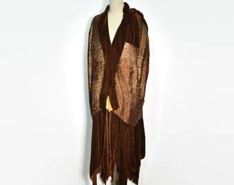 Vintage 1920's Gold Lame and Brown Velvet Cocoon Coat / Hurtzler Brothers Co. Velvet Evening Coat / Flapper Coat/Cape