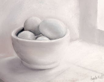 Pastel still life of pale blue eggs in white bowl (original)
