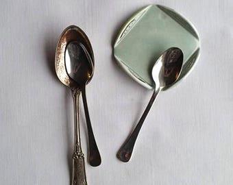 Ceramic Spoon Rest, Medium Blue Spoon Rest, Small Trinket Dish