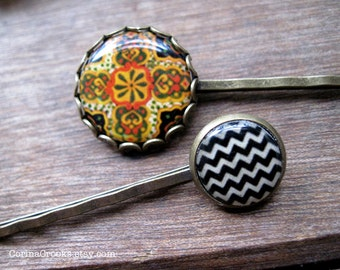 Southwestern style, Hair Accessories, Bobby pins, Hair pins, Gold and orange, folk art, Mexican jewelry, colorful hair accessories