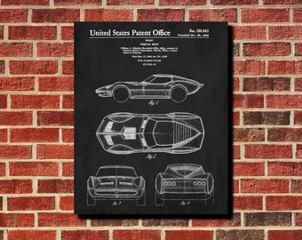 1966 Vintage Car Patent Poster, Car Styling Print, Classic Car Decor, Man Cave Wall Art