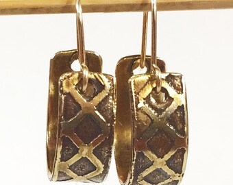 Small Hoop Earrings, Etched Brass Earrings - Free Domestic Shipping