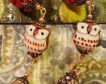 Red cinnabar owl dangle earrings