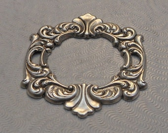 LuxeOrnaments Antiqued Sterling Silver Plated Brass Stamping Rococo Style Focal Framework (1 pc) 39x35mm SG-8917-S