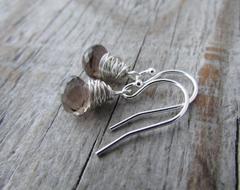 Smoky Quartz earrings, wire wrapped, faceted gemstone dangles
