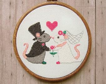 Mouse Wedding Cross Stitch Pattern - Cute Cross Stitch Pattern - Wedding Gift - Mouse Cross Stitch Pattern