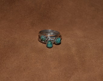 Turquoise and sterling silver stacker rings