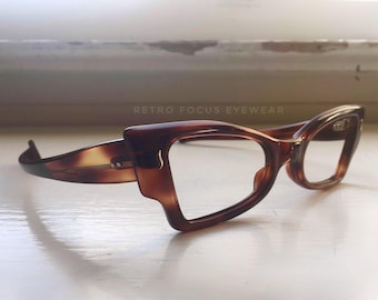 French NOS Extreme Angular Square Cat Eye Glasses Eyeglass 50's Vintage NOS Frames Dark Warm Tortoise