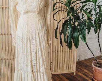 Maxi jurk Victoriaanse witte Lace
