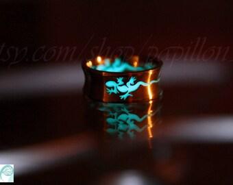 Geiko Lizard Ring / Glow in the dark / Stainless Steel ring / Lizard Ring / Animal Ring /