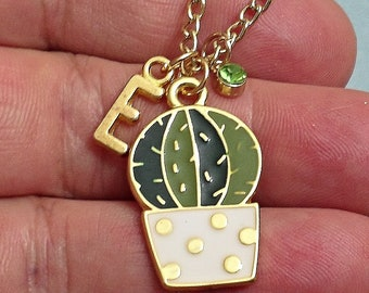Great Design  CACTUS personalized  initial Necklace With Personalized Birthstone