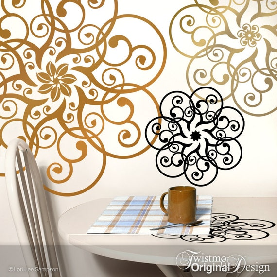 Mandala Doily Wall Decal Art Metallic Copper U0026 Gold Vinyl