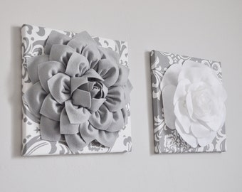 Silver Gray Damask Flower Wall Hanging Set - Gray Damask Wall Decor - Damask Home Decor - Girls Room Decor - Unique Wall Decor Art