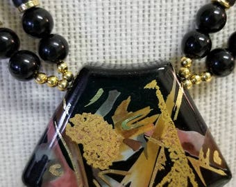 Beautiful Vintage Black and Gold Foil Japanese Necklace