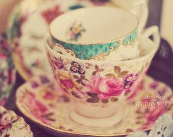 Tea Cups Photo, Still Life Photography, Tea Party, Vintage Teacup Print, Kitchen Decor, Pink, Romantic Cottage Art, Shabby Chic, Nursery