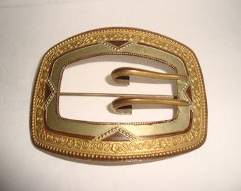 Great Antique Art Nouveau Brass and Enamel Buckle