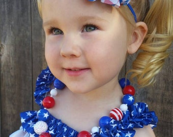 Patriotic Necklace, 4th of July Necklace,  red white and blue baby necklace,  children's necklace, chunky bead necklace