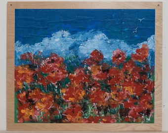 Red Poppies Red Flowers Original Painting Wall Art
