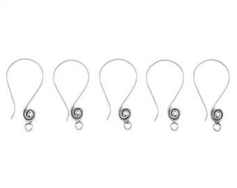 Ear Wires German Silver Swirl Ear Wires Silver Earwires Earring Findings Earring Hooks Ornate Ear Wires 6pcs
