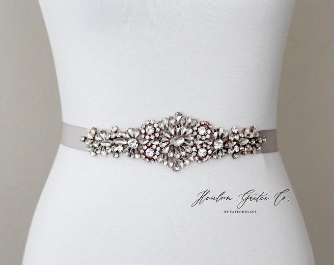 Rhinestone Bridal Belt, Bridal Sash, Beaded Bridal Sash, Wedding Belt, Wedding Sash Rhinestone Sash 59RG