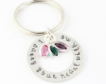 Mother's Day Gift for Mom or Grandma - Personalized Birthstone Keychain - Birth Stone Key Chain - Custom Key Ring - Sterling Silver Keychain