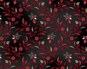 By The HALF YARD - Lancaster Collection designed by Sara Morgan for Blue Hill, #8282-13, Black & Red Floral Vine Diamond on Black, Civil War