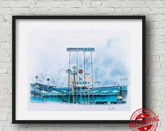 la dodgers poster, la dodgers poster, dodger stadium art print , baseball decor, baseball art