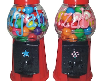 "Personalized Candy Machine / Bank with Gumballs / 6.25"" TALL Gumball Machine"