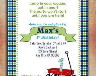 Little Red Wagon Birthday Invitation, Red Wagon Birthday Invitation, Wagon First Birthday, Red Wagon Invitation, Red Wagon 1st Birthday
