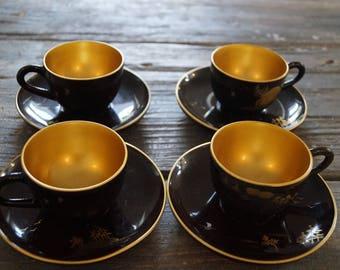 Japanese Tea Set Vintage Japanese Tea Set Japanese Laquer Ware Handpainted Tea Set 1950's Tea Set
