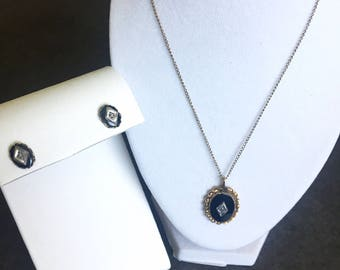 Vintage 14k gold filled onyx and diamond necklace and earring set