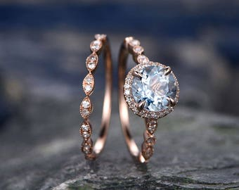 Blue Aquamarine engagement ring set-Solid 14k rose gold-handmade Diamond Wedding ring-2PC Stacking ring-7mm Round shape March Birthstone