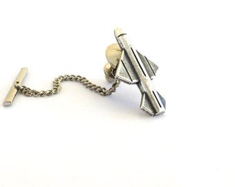 Missile Tie Tack Sterling Silver Ox Finish