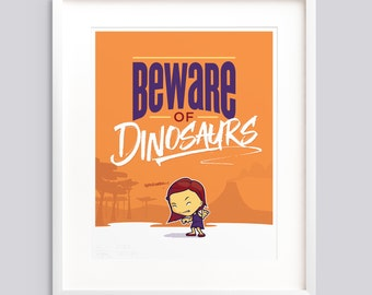 "Poster ""Beware of Dinosaurs"" Girls—Typographic poster, kids room wall art giclée print nursery - v1"