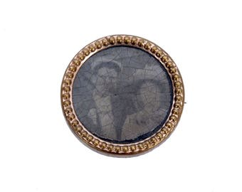 Victorian Mourning Pin - Victorian Morning Brooch - Victorian Photo Pin - Victorian Photo Brooch - Daguerreotype - Brass - Married Couple