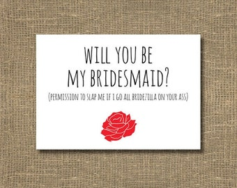Bridezilla / Will you be my Bridesmaid Card / Junior Bridesmaid / Honorary Bridesmaid / Red Rose Bridesmaid Card, Funny Will you be my Card