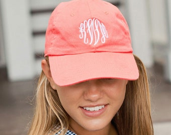 Coral Ball Cap - Personalized Cap - Women's Hat - Baseball Cap - Gift for Her - Monogram Cap - Women's Cap - Coral Hat - Women's Gift - Gift