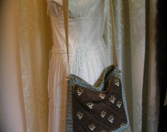 Bohemian Tote Bag, boho hippie bag, handmade thick upholstery grade, long crossover strap, pockets, earthy, earth tones, neutral