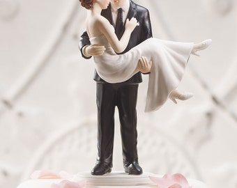 Swept Up in His Arms Romantic Couple Wedding Cake Topper Hand Painted Porcelain Jenuine Crafts