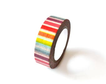 Washi / masking tape 15 mm with multicolored stripes